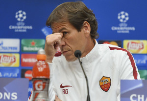 MINSK, BELARUS - SEPTEMBER 28:  Coach of AS Roma Rudi Garcia attends a press conference prior to their UEFA Champions League match tomorrow against FC BATE Borisov on September 28, 2015 in Minsk, Belarus.  (Photo by Luciano Rossi/AS Roma via Getty Images)