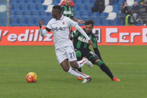REGGIO NELL'EMILIA, ITALY - JANUARY 24: Amadou Diawara # 21 of Bologna FC in action during the Serie A match between US Sassuolo Calcio and Bologna FC at Mapei Stadium - Città del Tricolore on January 24, 2016 in Reggio nell'Emilia, Italy.  (Photo by Mario Carlini / Iguana Press/Getty Images)